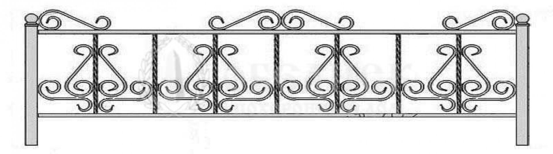 Ограда на могилу кованная №10