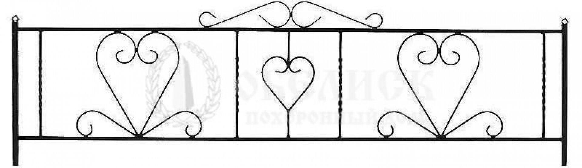 Ограда на могилу кованная №12