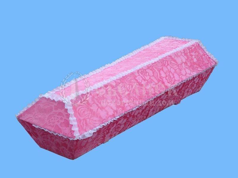 Гроб розовый велюр