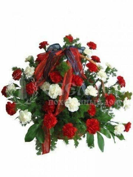 Траурная корзина с цветами (корзина) №1