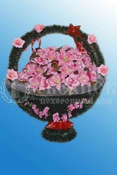 Корзина из искусственных цветов №6/4 розовая