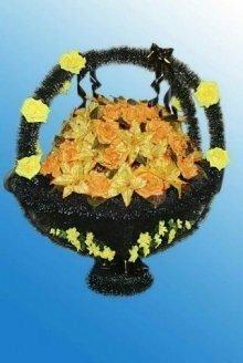 Корзина искусственных цветов (№6 желтая)