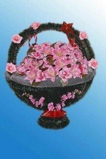 Корзина искусственных цветов №6/4 розовая